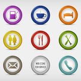 Sistema de coloreado alrededor de los iconos del web para el servicio Foto de archivo libre de regalías