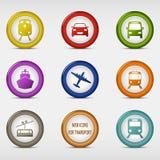 Sistema de coloreado alrededor de los iconos del web para el transporte Foto de archivo libre de regalías