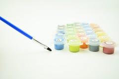 Sistema de colores de la pintura del número en una lona Imagen de archivo libre de regalías