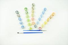 Sistema de colores de la pintura del número en una lona Imágenes de archivo libres de regalías