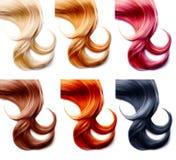 Sistema de colores del pelo aislado en blanco imágenes de archivo libres de regalías