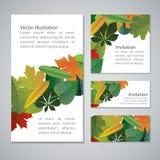 Sistema de colorido, banderas del vector de las hojas de otoño Foto de archivo libre de regalías