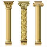 Sistema de columnas clásicas del oro imagenes de archivo