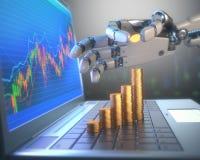 Sistema de comercio del robot en el mercado de acción Fotografía de archivo