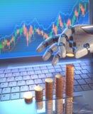 Sistema de comercio del robot en el mercado de acción Imagen de archivo libre de regalías