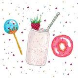 Sistema de comida dulce Foto de archivo libre de regalías