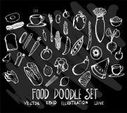 Sistema de comida de la colección del dibujo del garabato del vector en fondo negro Fotografía de archivo libre de regalías