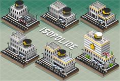 Sistema de comisarías de policías isométricas Imágenes de archivo libres de regalías
