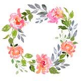 Sistema de composición floral de la acuarela stock de ilustración
