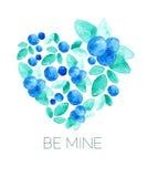 Sistema de composiciones florales Hojas y corazón de las bayas en colores verdes azules watercolor Vector Imagen de archivo libre de regalías
