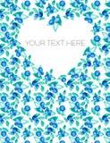 Sistema de composiciones florales Hojas y corazón de las bayas en colores verdes azules watercolor Vector Fotos de archivo libres de regalías