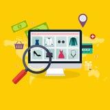 Sistema de compras y de comercio electrónico en línea planos del concepto de diseño Iconos Foto de archivo libre de regalías