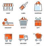 Sistema de compras y de iconos al por menor del vector del esquema Fotos de archivo libres de regalías
