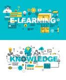 Sistema de conceptos modernos del ejemplo del vector de aprendizaje electrónico y de conocimiento de las palabras stock de ilustración