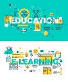Sistema de conceptos modernos del ejemplo del vector de educación y de aprendizaje electrónico de las palabras libre illustration
