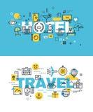 Sistema de conceptos modernos del ejemplo del vector de hotel y de viaje de las palabras libre illustration
