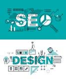 Sistema de conceptos modernos del ejemplo del vector de las palabras SEO y de diseño libre illustration