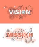Sistema de conceptos modernos del ejemplo del vector de visión y de misión de las palabras ilustración del vector