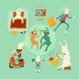 Sistema de conejos divertidos de la historieta en diversas situaciones Ilustración del vector Fotografía de archivo libre de regalías