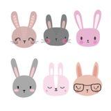Sistema de conejos lindos Animales divertidos del garabato Poco conejito en estilo de la historieta Imagen de archivo libre de regalías