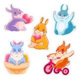 Sistema de conejos lindos de la historieta Conejito con el corazón, bicicleta, saludando sticker Ilustración del vector Imágenes de archivo libres de regalías