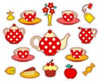 Sistema de consumición del remiendo del té ilustración del vector