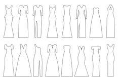 Sistema de contornos de los vestidos de noche, ejemplo del vector Imagenes de archivo