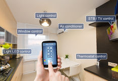 Sistema de controlo home remoto em um telefone esperto Imagens de Stock