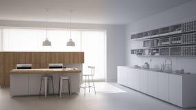 Sistema de controlo home remoto esperto em uma tabuleta digital Dispositivo com ícones do app Cozinha branca e de madeira moderna ilustração stock