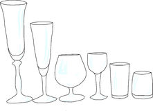 Sistema de copas de vino con resplandor Imagenes de archivo