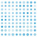 Sistema de 100 copos de nieve Imagen de archivo libre de regalías
