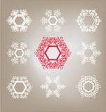 Sistema de copos de nieve Imágenes de archivo libres de regalías