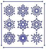Sistema de copos de nieve con extremidades redondeadas Fotos de archivo libres de regalías