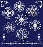 Sistema de copos de nieve del mandala-estilo de los elementos del invierno Foto de archivo libre de regalías