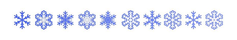 Sistema de copos de nieve del invierno ilustración del vector