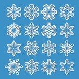 Sistema de 16 copos de nieve del vector Fotografía de archivo