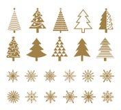 Sistema de copos de nieve y de iconos del árbol de navidad Imagen de archivo