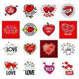 Sistema de corazón de los logotipos del vector Foto de archivo