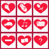 Sistema de corazón de los iconos Imagen de archivo