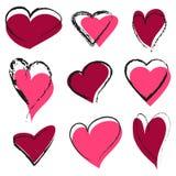 Sistema de corazones abstractos Fotografía de archivo