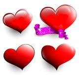 Sistema de corazones brillantes Foto de archivo
