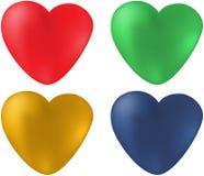 Sistema de corazones coloreados Foto de archivo libre de regalías