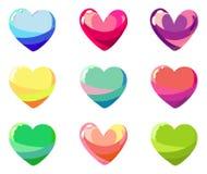 Sistema de corazones coloridos Fotos de archivo libres de regalías