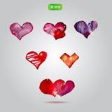 Sistema de corazones creativos de la acuarela del vector con Fotos de archivo libres de regalías