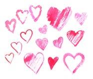 Sistema de corazones de la acuarela ilustración del vector