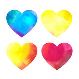 Sistema de corazones de la acuarela en un fondo blanco Fotografía de archivo libre de regalías