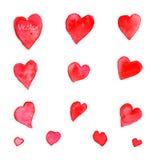 Sistema de corazones de la acuarela Vector Fotografía de archivo libre de regalías