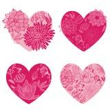 Sistema de corazones de la flor Fotografía de archivo libre de regalías