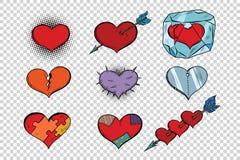 Sistema de corazones de la tarjeta del día de San Valentín en un fondo transparente stock de ilustración