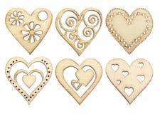 Sistema de corazones de madera agraciados Fotos de archivo